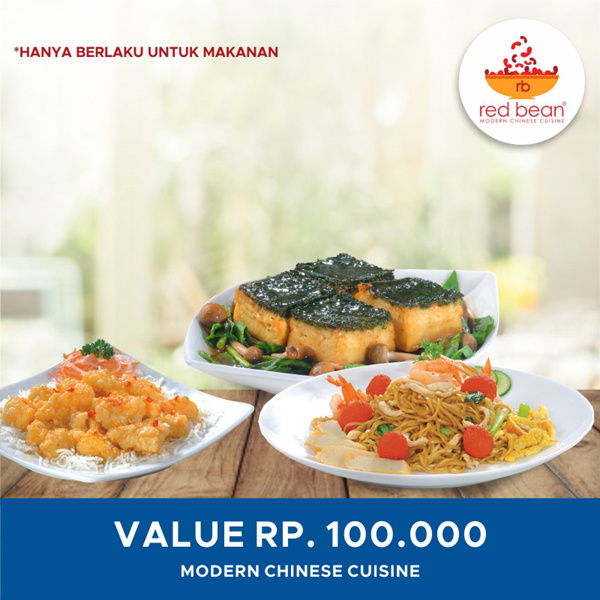 [DINNING] Red Bean Voucher Value 100.000 Deals for only Rp97.900 instead of Rp97.900