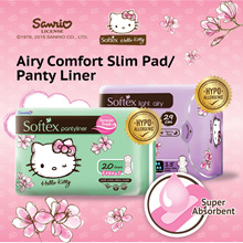SOFTEX ★ CUTE Hello Kitty Ultra Thin Wings Sanitary Pad / Pantyliner | MAX COMFORT | Heavy Flow