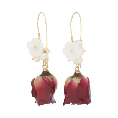 PARISIENNE Red Rose with pearl Botanincal Earrings