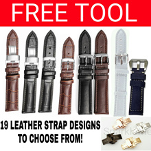 Genuine Leather Watch Strap [FROM $7.90]☆35 Strap Designs☆FREE SPRING BARS OR TOOL☆Clasp/Pin buckle