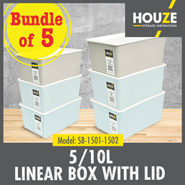 Bundle Of 5 ♦ 5L/10L linear Box With Lid ♦ Multi-Functional ♦ Strong And Durable ♦ 100% Virgin PP
