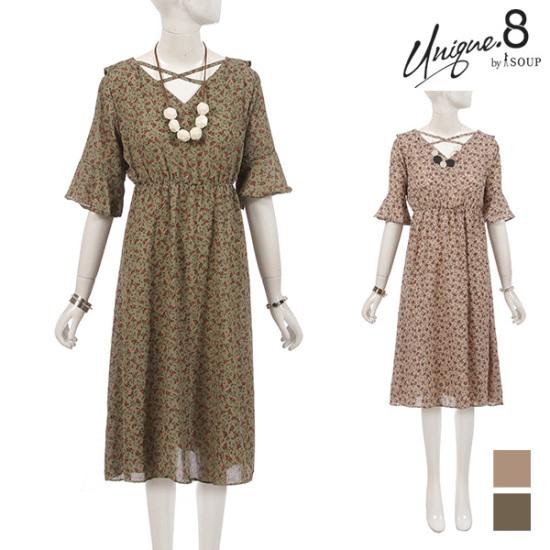 森SOUPツーウエー・クロス花ワンピースSTCOP54 面ワンピース/ 韓国ファッション