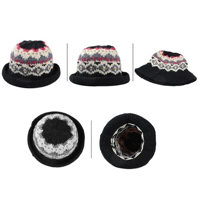 a964655c5fb Women Winter Handmade Warm Vintage Pattern Knitted Hat Brim Foldable Bucket  Hat