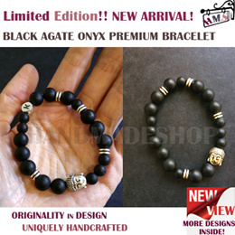 H.M.S Limited Edition Top Selling Buddha Head Black Agate Onyx Premium Bracelet for Men/Women/Unisex. Handcrafted Chic Fashion Trending Accessory Every Fashionista-Must-Have!