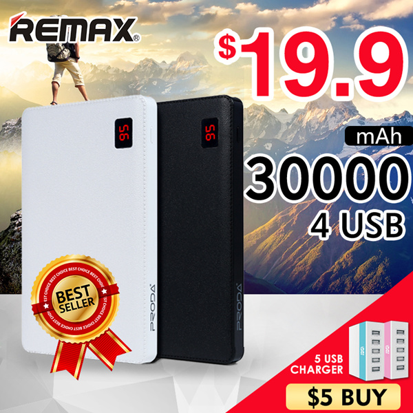 Remax NOTE 30000mAh HXR 20000mAhGENAI 10000mAh Powerbank 2.1A fast charging of Deals for only S$50 instead of S$0
