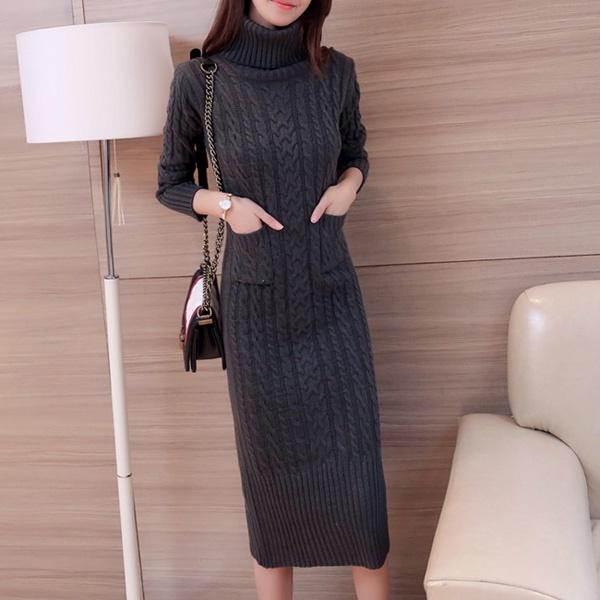 【韓国ファッション】ワンピース/リブニットワンピース/ロングワンピース/タートルニット/ロングニットコーディ_233087
