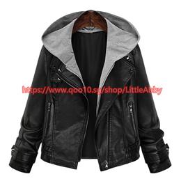 Fashion Autumn Winter Faux Leather Jackets Women Ladies PU Hoodies Lapel Zipper Pockets black Jacket