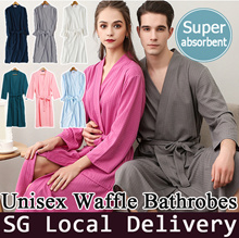☆Special Off For National Day☆【Local Delivery】Unisex Waffle Bathrobe short Sleeve pajamas/Sleepwear
