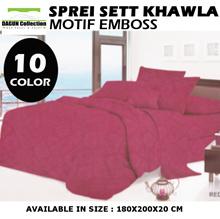 Sprei Sett Emboss Khawla / Sprei + sarung bantal dan guling tanpa Bed Cover / Size 180x200x20 cm
