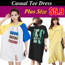 19/5  Plus size*Cartoon*Letter pattern/Loose Fashion T-shirt*casual tee dress