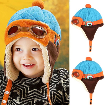946552bcde2 wholesale 4 Colors Available Baby Pilot Hat Toddlers Kids Cool Aviator  Winter Warm Cap For 10