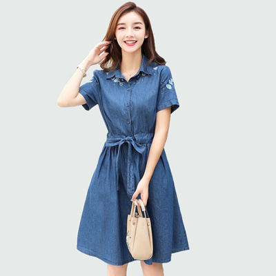 02e5c196626d8 Summer Embroidery Print Denim Dress 2018 Women Casual Elastic Waist Short  Sleeve Party Dresses Plus