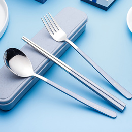 Stainless Steel Cutlery Set 304 Utensils Travel Portable Spoon Fork Chopsticks Dining Kitchen