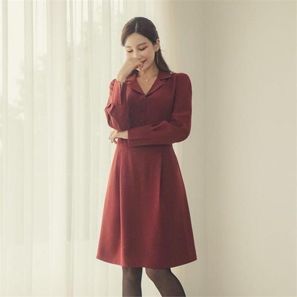 ビックサイズジェイ・スタイルボエンドゥボタンワンピース 無地ワンピース/ワンピース/韓国ファッション