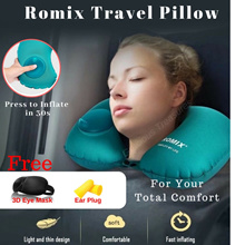 [Free 3D Eye Mask + Ear Plug] Quick Inflate Travel Pillow No blowing All Round Neck Support Comfort