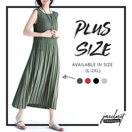 JESSCLOSET - Loose Fit Pleated Round-Neck Sleeveless Long Dress With Pockets #1595 - New Arrival