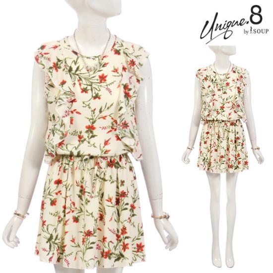 森SOUPフラワーサイドラッフルワンピースSTEOP38 面ワンピース/ 韓国ファッション