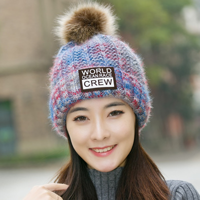 Korean winter hats girls cute knitted wool Cap Korean autumn winter  earmuffs ball cap and wool 71cc3689ed5