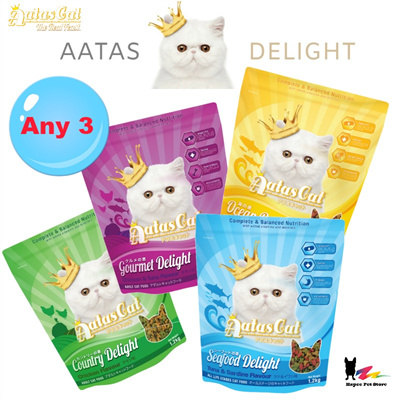 Aatas Cat Delight Dry Food I Seafood I Any 3 x 1.2Kg For $28.9 I Gourmet I Ocean I Country I Seafood: 2 sold: Rating: 3: Free~: S$39.90 S$28.90