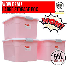 WOW DEAL! - Bundle of 3 - Large Capacity Storage Box - 55L *NEW PASTEL COLORS*