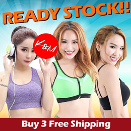 Buy 3 in 1 Shipping 【READY STOCK】KM Workout Lady Sport Bra/Sports Top/Sports Bra Jogging Exercise