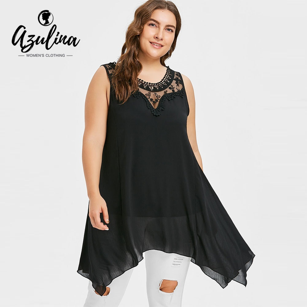 ea30db19 fit to viewer. prev next. Plus Size Lace Panel Sleeveless Tunic Top Women  Tanks Summer O Neck Sleeveless Black Long Tops