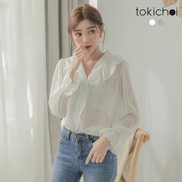 TOKICHOI - Lotus Leaf Lace Collar Skinny Top-190232