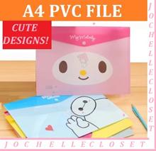 A4 File Cartoon plastic folder / PVC Button Folder / Hello Kitty / Minion /Cute designs