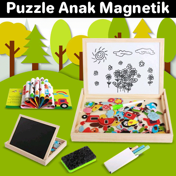 Kids Magnetic Puzzle/early development/toys/baby/children/ toddler/art/puzzle/educational Deals for only Rp35.000 instead of Rp35.000