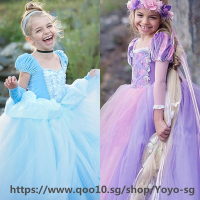 974669544ae90 Girls Princess Dresses Kids Belle Cosplay Costume Children Rapunzel Aurora  Cinderella Sleeping Beaut