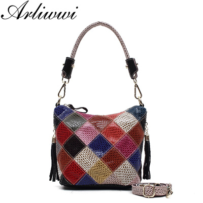 authentic Elegant Shiny Handmade 100% Real Leather Patchwork Tote Soulder Bags  Female Color Block Cr 8ccf8e75c9d64