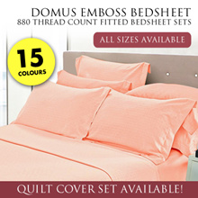 DOMUS Emboss 880 Thread Count Fitted Bed sheet Set  / 8 Colours / 4 Sizes!