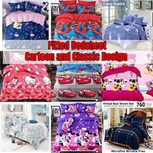 ★Factory Direct Sale!★ 800 THREAD FITTED CARTOON BEDSHEET SET 100%COTTON BUY 1 PILLOW FREE 1 PILLOW