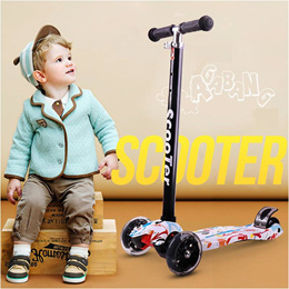 Kick Scooter for Kids - 3 Wheel w Adjustable Height w Flashing LED Wheels for Children Ages 3 to 12