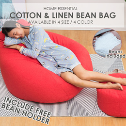 SOL HOME Cotton And Linen Bean Bag With FREE Bean Holder // BEANS INCLUDED//