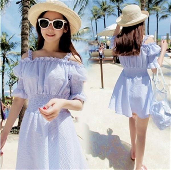 レディースワンピース ビーチワンピース 砂浜 無地 フリル ファッション ハイセンス 着心地いい おしゃれ 夏 レディースワンピース