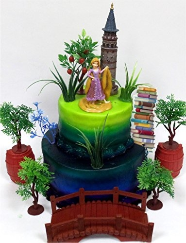 TANGLED Princess RAPUNZEL Birthday Cake Topper Featuring Rapunzel Figure And Decorative Themed Acces
