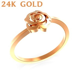 MR0115/ 24K Rose GOLD flower ring! NEW 999 SOLID GOLD PLATE AUCTION CHANCE