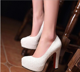 Korean Style Wedding Shoes white Pump shoes Block⚐Heel Rounded Toe shoes gradient sequins crystal sh