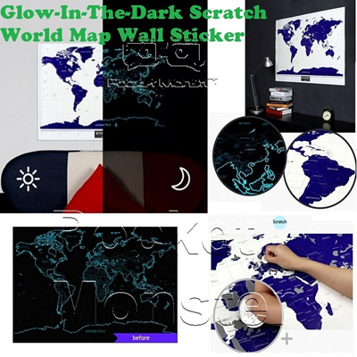 Qoo10 world map furniture deco glow in the dark scratch world map wall sticker diy scratch starry gumiabroncs Images
