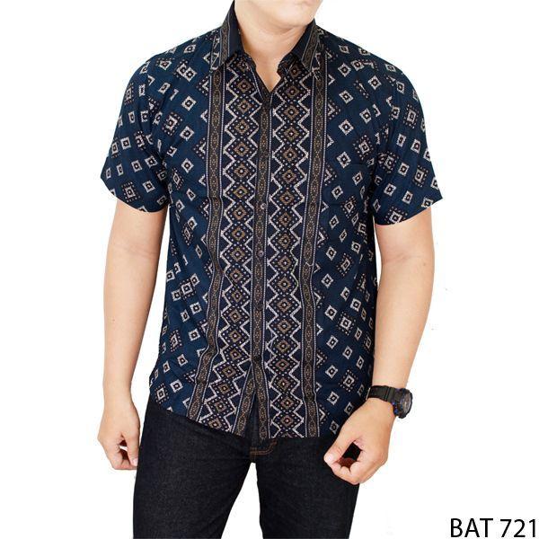 Buy Baju Batik Modern Lengan Pendek Laki-Laki Katun Navy – BAT 721 ... 94a83a3087