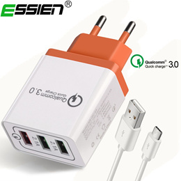 Essien 3Ports USB Type c Quick Charge 3.0 3 Ports USB Charger With Micro Type-C USB Cable usb Travel