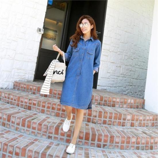 ピピン行き来するようにピピンピストデニムワンピース34754 綿ワンピース/ 韓国ファッション