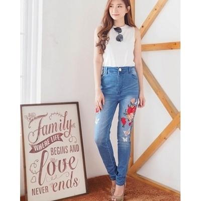 Celana Jeans Bordir Butterfly Rose BigSize