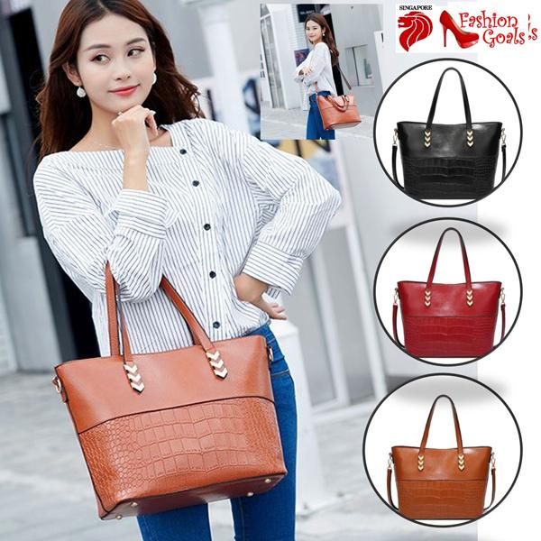 Tas bahu tas kulit berkualitas lilin dengan selempang untuk kantor hari untuk wanita