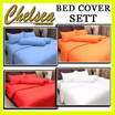 BED COVER SETT MICROTEX MOTIF FULL COLOR POLOS ~ Warna Tidak Luntur