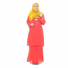 Cotton &amp amp  Silk - Baju Kurung Pahang - BKM 153 - Kurung Pahang - Shiffon - Lavender - A3 (Red)