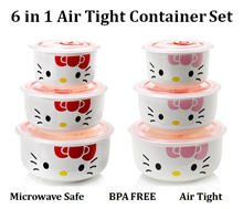♥ Hello Kitty Air Tight Bowl Set with Cover ♥ Microwave Safe ♥ BPA Free ♥ Food Soup Peanuts Storage