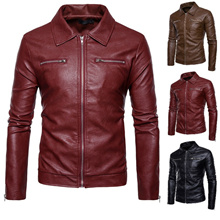 8d50e739a5 Autumn and Winter New Fashion Leather Double Pocket Zipper Lapel Men Jacket