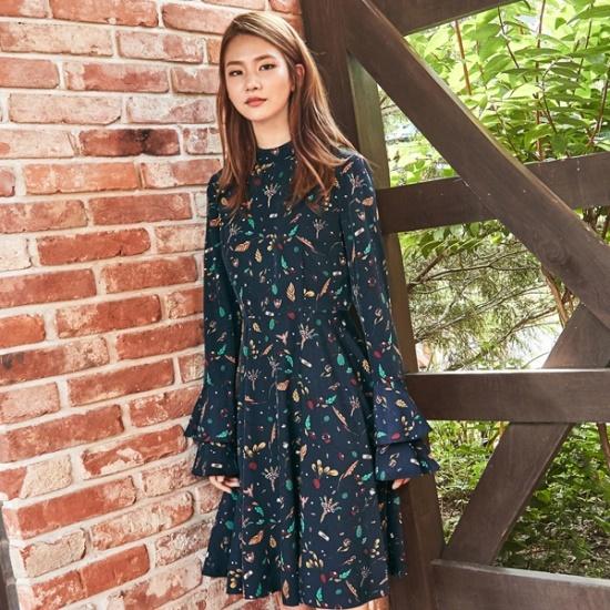 ナインNAINプリントフレアワンピースOP3376 面ワンピース/ 韓国ファッション